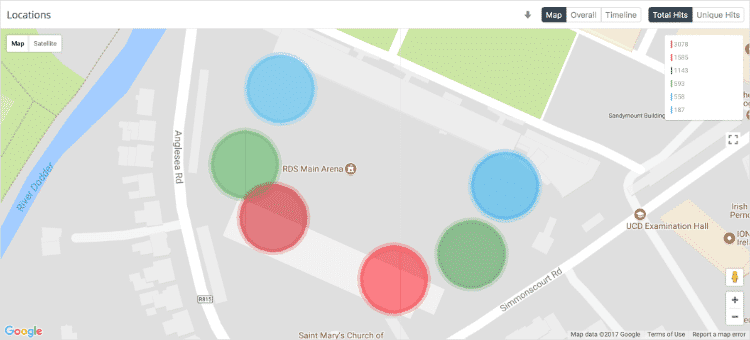iBeacon locations on the RDS Main Arena