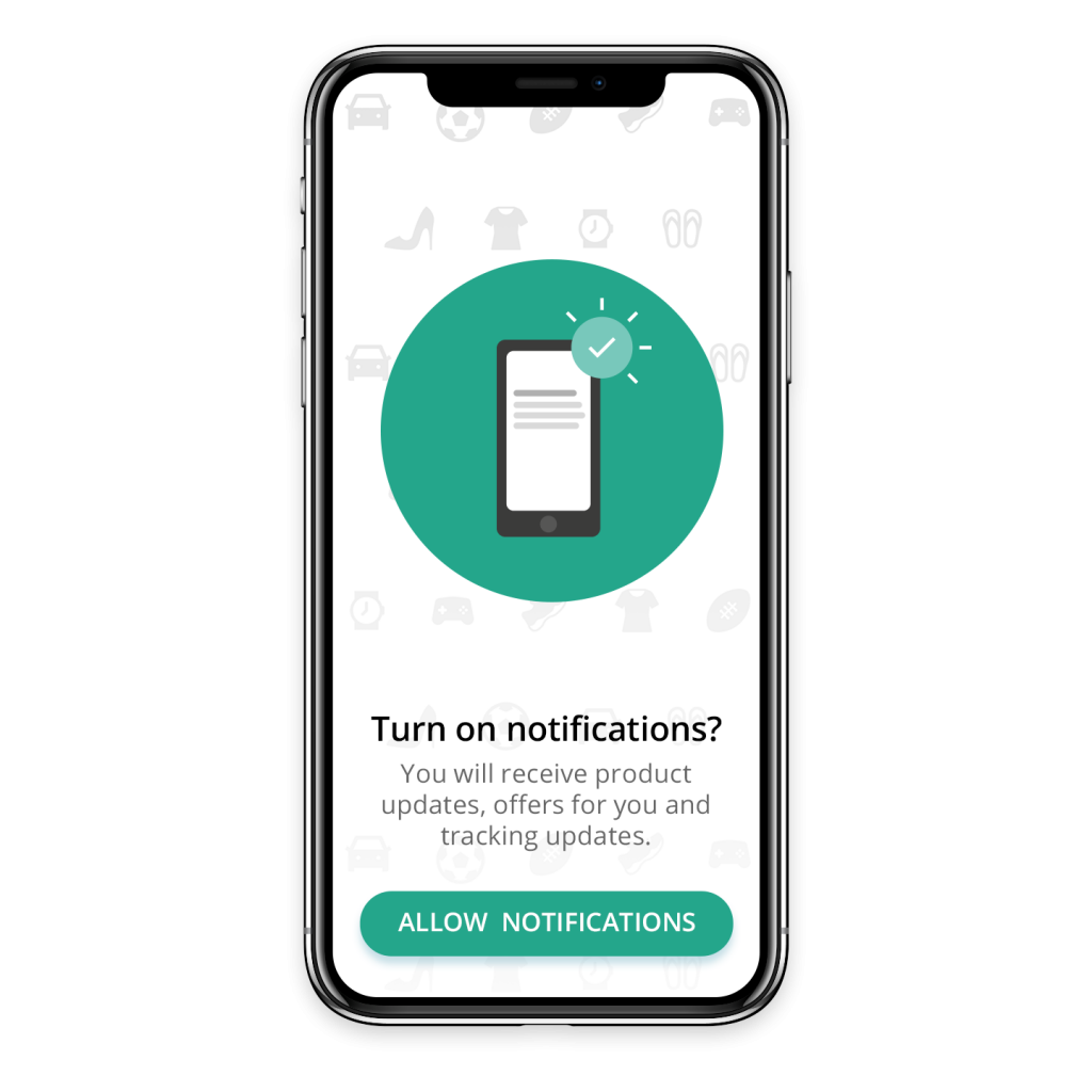 Turn-on app push notifications screen