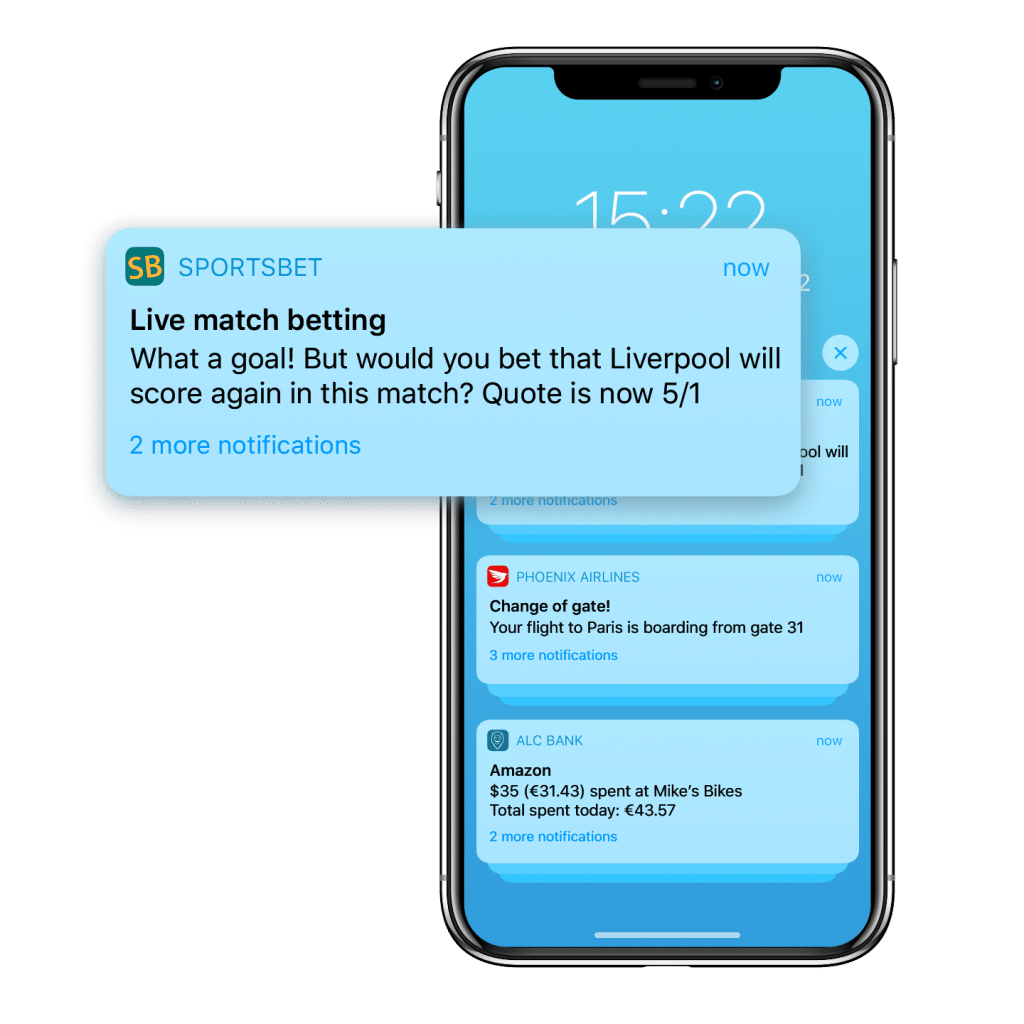 An app push sent in real time by a sports betting and gaming brand