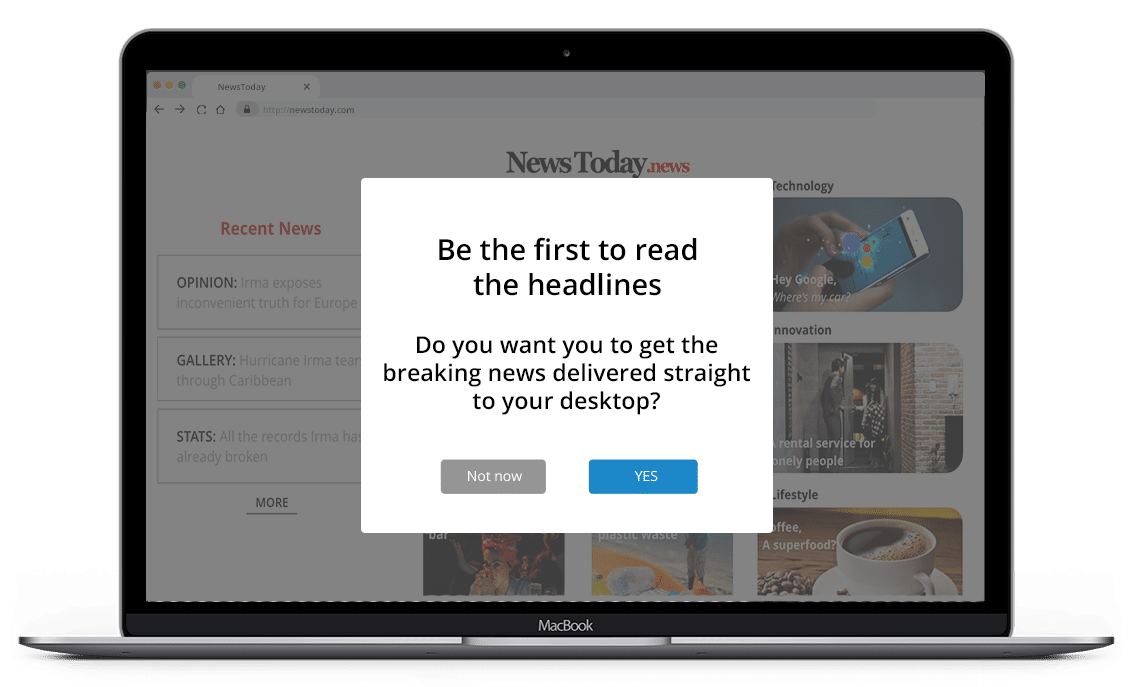 Publishing and media pre-permission opt-in message