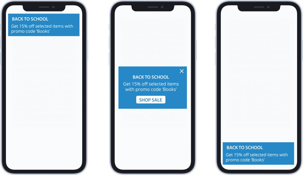Three variations of in-app message banner