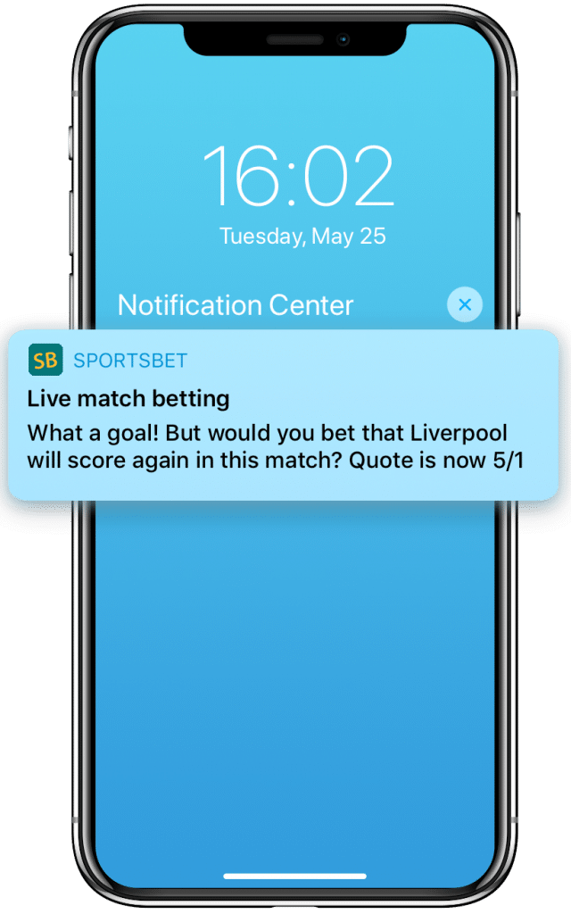 In-play betting push notification promoting next scorer odds